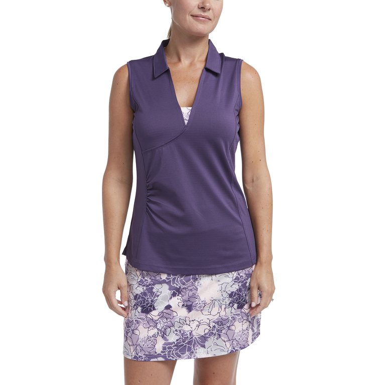 Impatiens Collection: Sleeveless Faux Wrap Polo Shirt