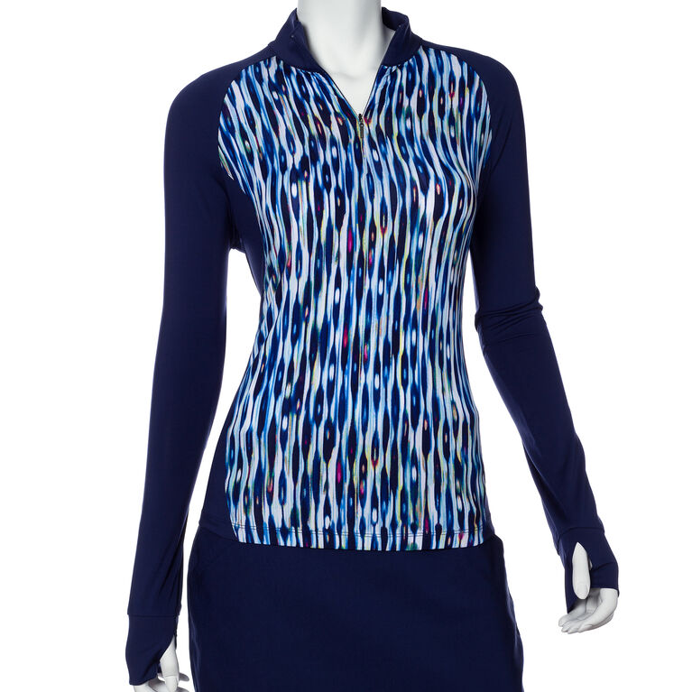 EP Pro Long Sleeve Striated Feather Print Blocked Polo