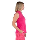 Alternate View 2 of Pink Lady Collection: Sleeveless Cutaway Ruffle Mock Golf Shirt
