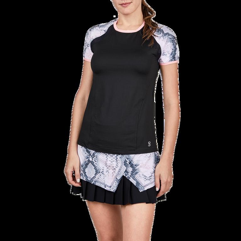 Short Sleeve Snake Print Tennis Top