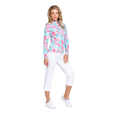 Alternate View 2 of Fun the Sun Collection: Flamingo Print Quarter Zip Pull Over