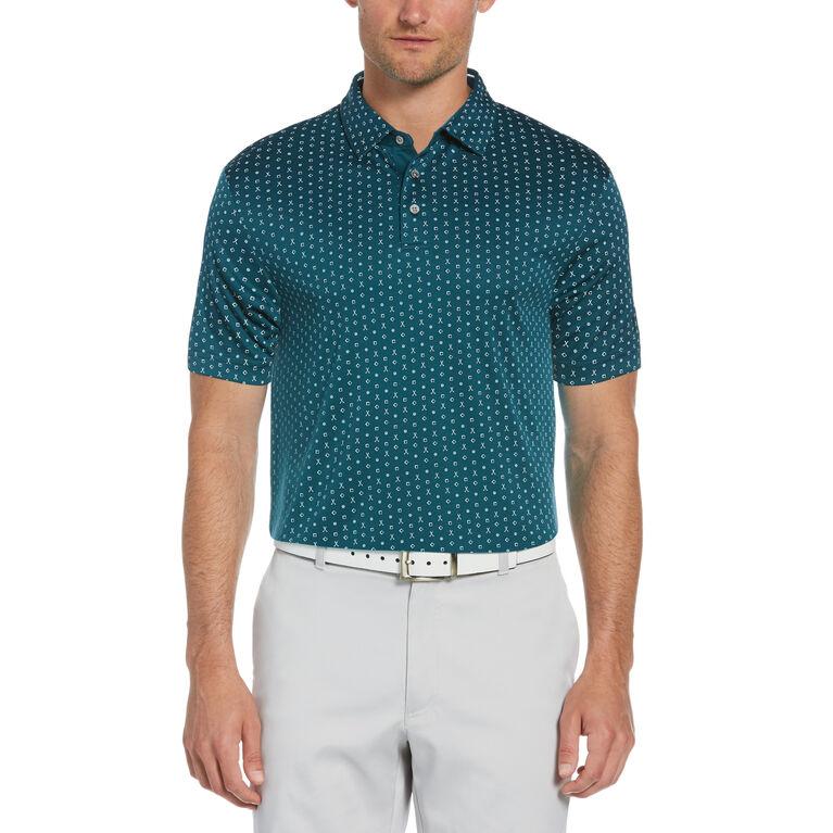 Allover Golf Conversational Print Short Sleeve Golf Polo Shirt