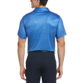 Alternate View 1 of Allover Textured Print Short Sleeve Golf Polo Shirt