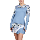 Bluemoon Collection: Marble Inset Long Sleeve Tennis Top