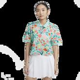 Women's Short Sleeve Crop Printed Polo Shirt