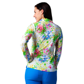 Alternate View 2 of Watercolor Florals Mock Quarter Zip Pull Over Top