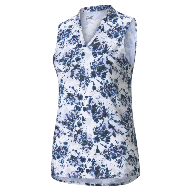 CLOUDSPUN Floral Tie Dye Sleeveless Polo Shirt