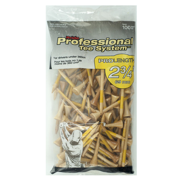 Professional Tee System 2-3/4 inch Natural Golf Tees 100 Pack