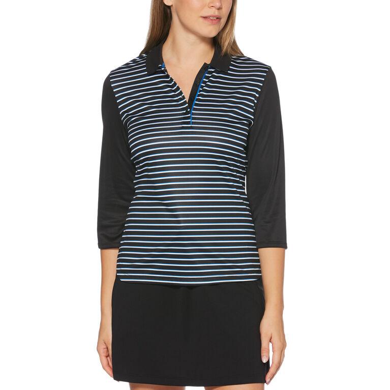 PGA TOUR Black and Blues Collection: Three-Quarter Sleeve Striped Golf Shirt