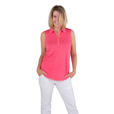 Alternate View 2 of Pink Lady Collection: Sleeveless Striped Polo Shirt