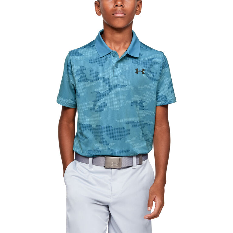 UA Performance Textured Printed Boys' Golf Polo Shirt