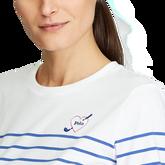 Alternate View 3 of Long Sleeve Striped Crewneck Golf Shirt