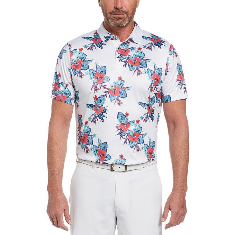Allover Tropical Print Short Sleeve Golf Polo Shirt