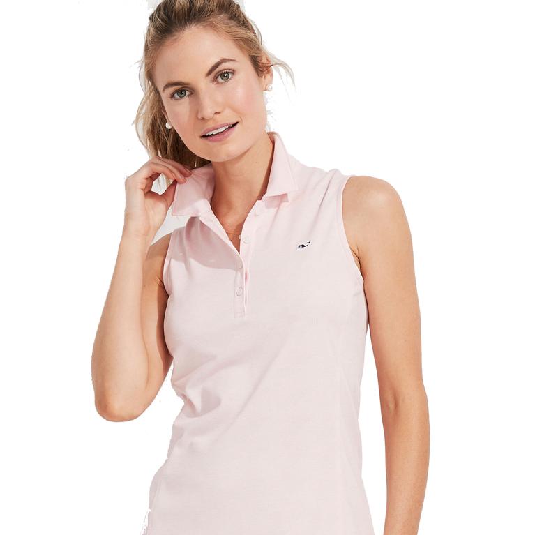 Jacquard Sleeveless Polo Shirt