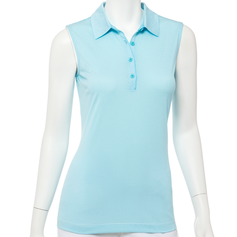 Out of the Blue Collection: Sleeveless Geo Check Jacquard Polo