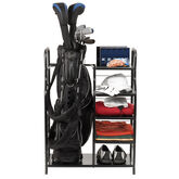 Golf Gifts & Gallery Black Metal Golf Bag Organizer filled