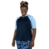 Alternate View 2 of NashVegas Collection: Short Sleeve Striped Rib Mock Polo Shirt