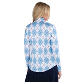 Alternate View 2 of Cape May Powder Collection: Long Sleeve Argyle UV Mock Quarter Zip Pull Over