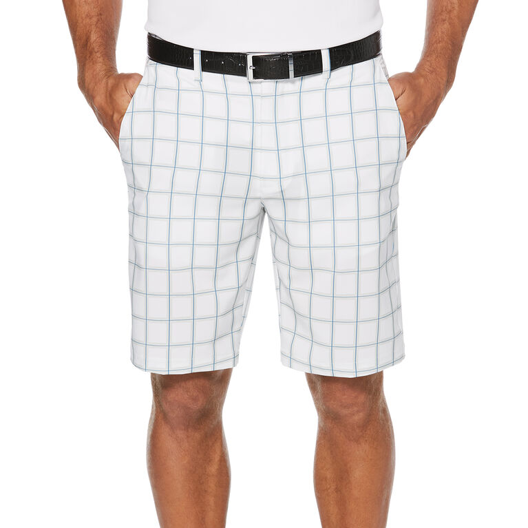 PGA TOUR Heather Grid Flat Front Golf Short with Active Waistband