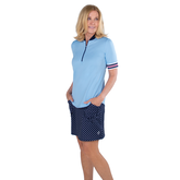 Alternate View 3 of Cape May Powder Collection: Short Sleeve Ribbed Collar Mock Shirt