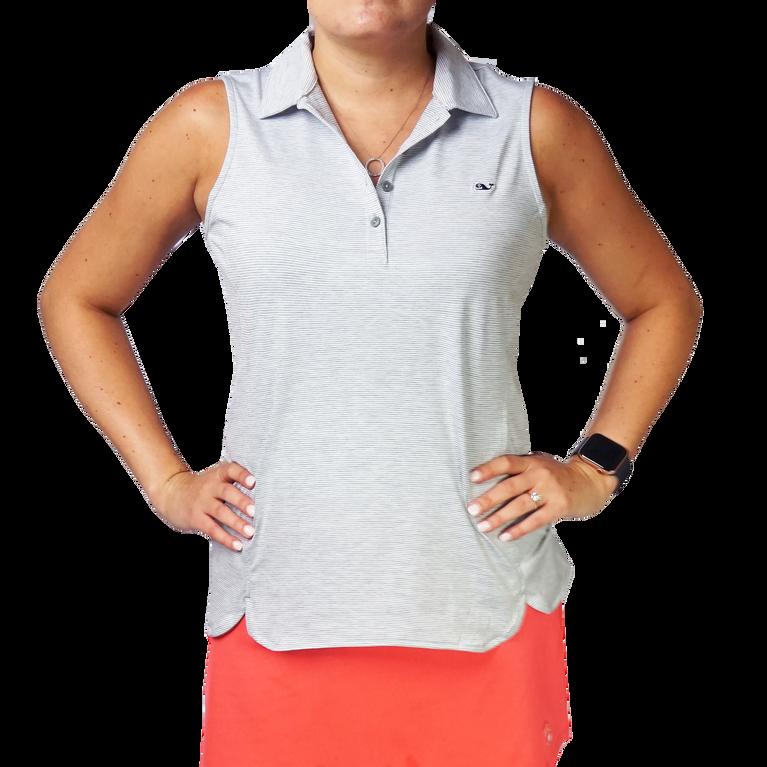 Heather Striped Sleeveless Polo Shirt