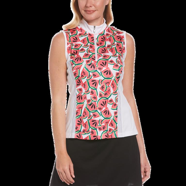 Watermelon Collection: Sleeveless Watermelon Print Quarter Zip Polo Shirt
