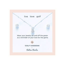 CC Sport Silver Golf Ball Necklace & Earring Set for Little Girls and Tweens