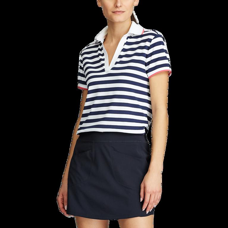 Short Sleeve Striped Piqué Golf Polo