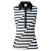 Judy Striped Sleeveless Polo Shirt