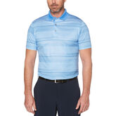 Allover Stripe Short Sleeve Polo Golf Shirt with Accent Pop
