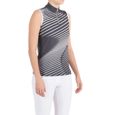 Alternate View 1 of Pink Art Collection: Sleeveless Wavy Lines Mock Polo