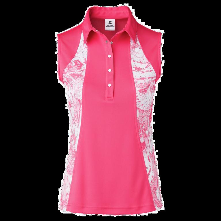 Adelina Sleeveless Inset Printed Polo Shirt
