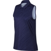 Sleeveless Diagonal Stripe Polo