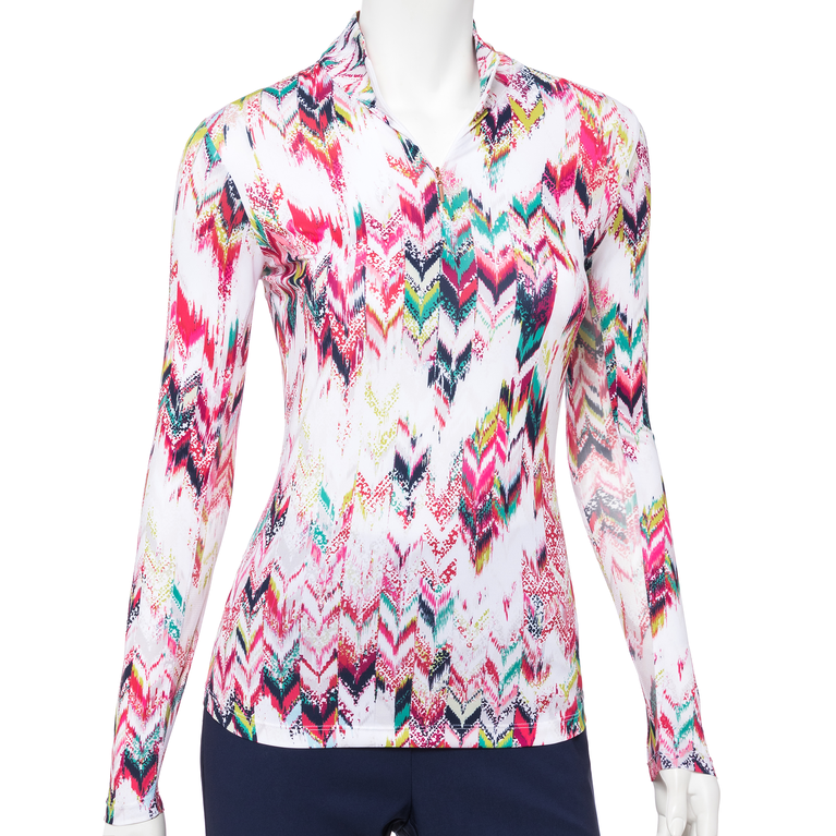The Gemstones Collection: Long Sleeve Ikat Print Quarter Zip Pull Over