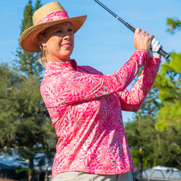 Pink Lady Collection: Long Sleeve Leaf Print Quarter Zip Pull Over
