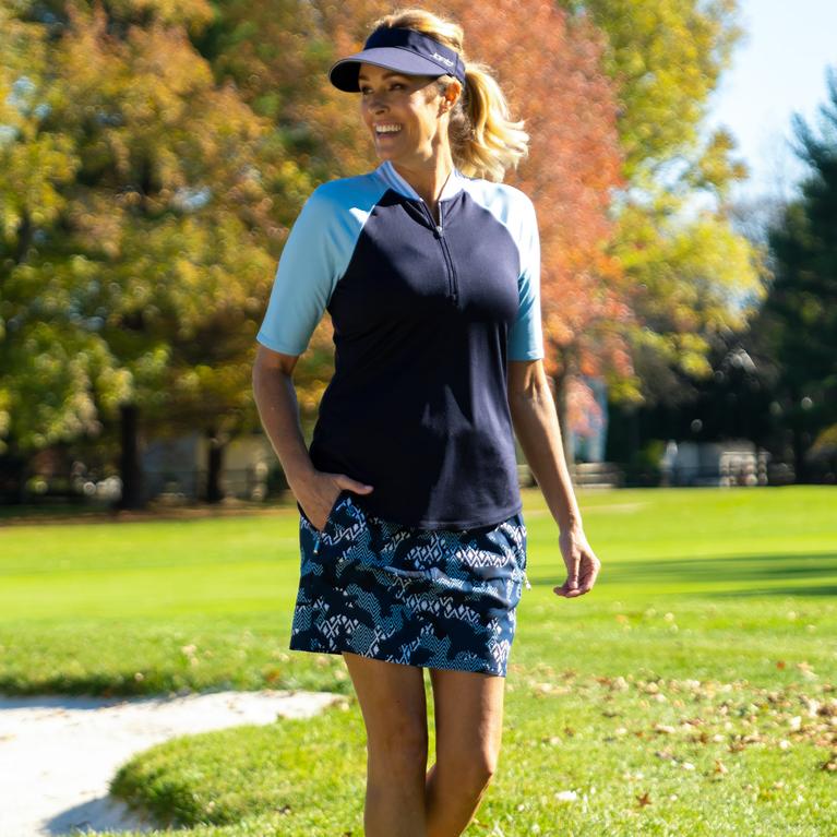 NashVegas Collection: Short Sleeve Striped Rib Mock Polo Shirt