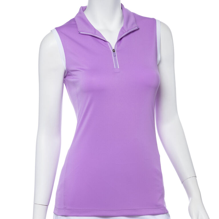 Club Med Group: Sleeveless Contrast Trim Convertible Collar Polo
