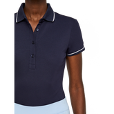 Short Sleeve Leana Lux Pique Polo Front Closeup