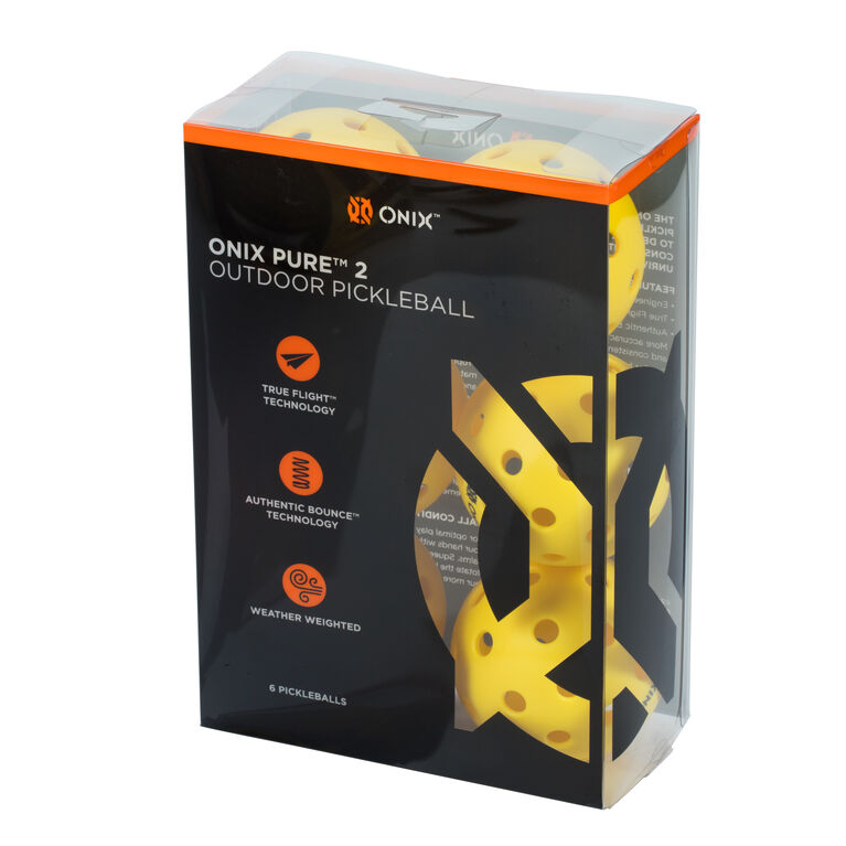 Onix Pure 2 Outdoor Pickleball Ball 6 Pack - Yellow