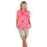 Alternate View 1 of Pink Lady Collection: Vera Short Sleeve Leaf Print Polo