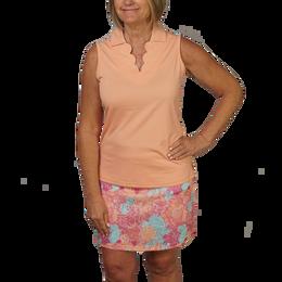 Scallop Neck Sleeveless Polo Shirt