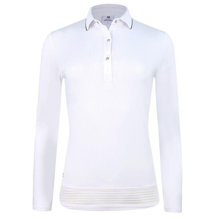 Visual Movement Collection: Nilla Long Sleeve Mesh Trimmed Polo Shirt