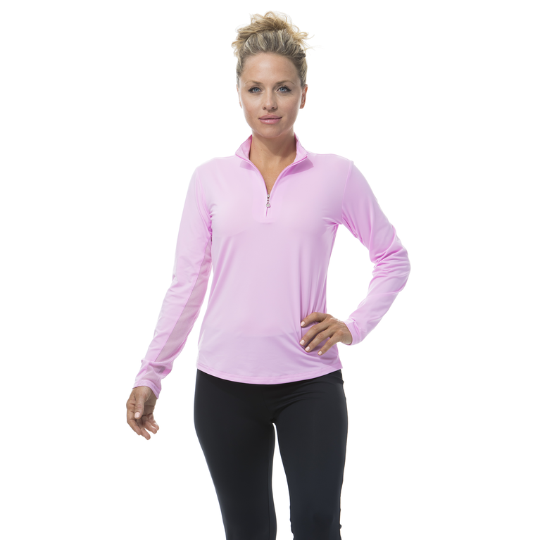 SunGlow Long Sleeve Solid Zip Mock Pull Over