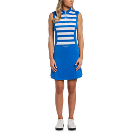 Blue Geo Collection: Striped Sleeveless 1/4 Zip Golf Dress