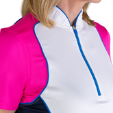 Alternate View 4 of Rojito Collection: Short Sleeve Colorblock Zip Top