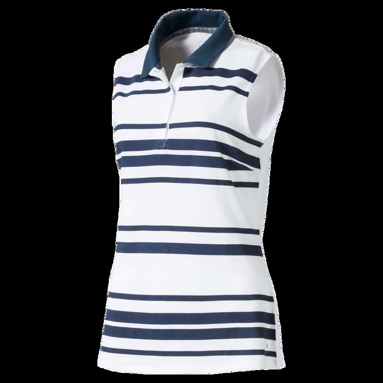 Women's Sleeveless Striped Golf Polo