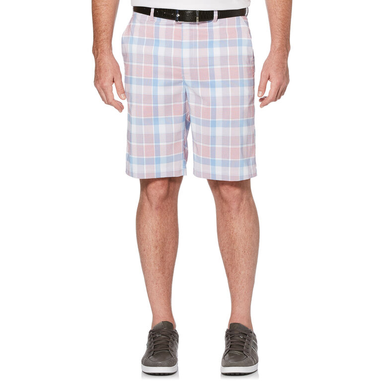 Pro Series Plaid Flat Front Golf Short with Active Waistband