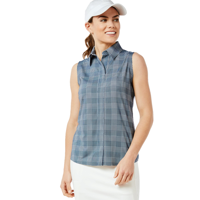 Sleeveless Keystone Check Print Shirt