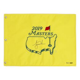 Tiger Woods Autographed 2019 The Masters Tournament Pin Flag