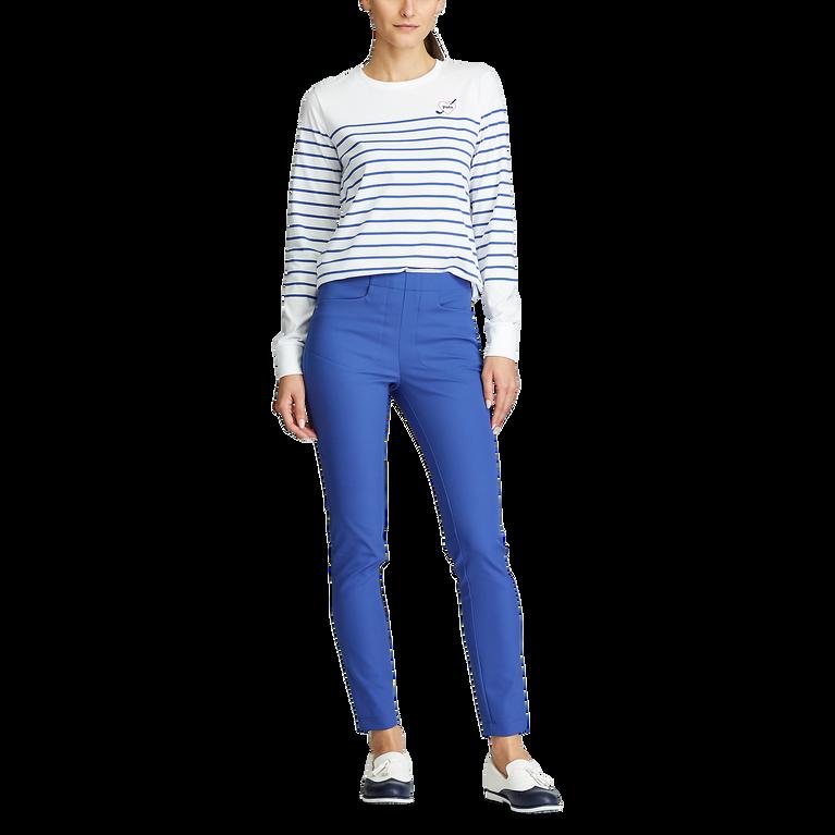 Long Sleeve Striped Crewneck Golf Shirt